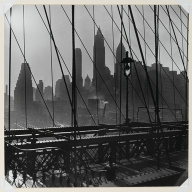 Esther Bubley (American, 1921-1998). <em>New York Harbor, View of Lower Manhattan from Brooklyn Bridge, October 1946</em>, 1946. Gelatin silver photograph, 10 1/4 x 10 7/16 in. (26 x 26.5 cm). Brooklyn Museum, Gift of Standard Oil Company, New Jersey, 54.201.1. © artist or artist's estate (Photo: Brooklyn Museum, 54.201.1_PS1.jpg)