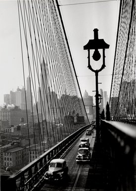 Esther Bubley (American, 1921-1998). <em>New York Harbor, Looking Toward Manhattan from the Footpath on Brooklyn Bridge, October 1946</em>, 1946. Silver gelatin photograph, sheet: 13 1/8 x 9 1/8 in. (33.3 x 23.2 cm). Brooklyn Museum, Gift of Standard Oil Company, New Jersey, 54.201.3. © artist or artist's estate (Photo: Brooklyn Museum, 54.201.3_PS1.jpg)