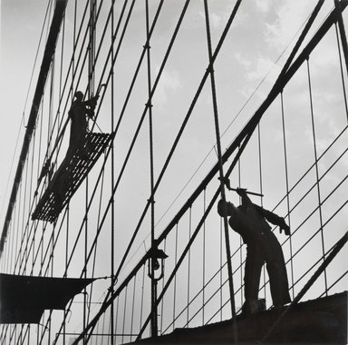 Esther Bubley (American, 1921-1998). <em>New York Harbor, Painters at Work on the Brooklyn Bridge, November, 1946</em>, 1946. Silver gelatin photograph, sheet: 10 3/8 x 10 1/2 in. (26.4 x 26.7 cm). Brooklyn Museum, Gift of Standard Oil Company, New Jersey, 54.201.4. © artist or artist's estate (Photo: Brooklyn Museum, 54.201.4_PS2.jpg)