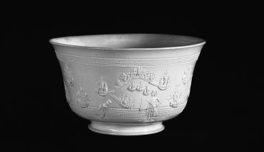 <em>Bowl</em>, ca. 1740. Earhenware, salt glaze, 3 1/2 x 6 1/8 in. (8.9 x 15.6 cm). Brooklyn Museum, Gift of Mr. and Mrs. Robert E. Blum, 54.3.1. Creative Commons-BY (Photo: Brooklyn Museum, 54.3.1_bw.jpg)