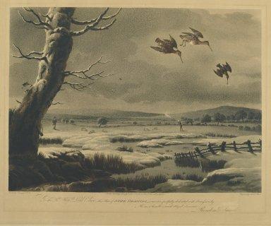 Nichols and Bluck. <em>Snipe Shooting</em>. Engraving Brooklyn Museum, Gift of Harry W. Havemeyer, 54.34.12 (Photo: Brooklyn Museum, 54.34.12_PS2.jpg)