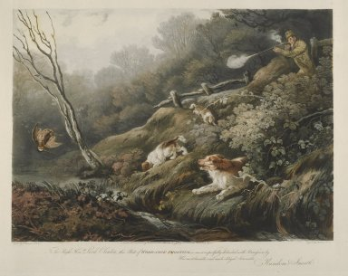 Meadows and Lewis. <em>Wood-Cock Shooting</em>, 1806-1810. Engraving Brooklyn Museum, Gift of Harry W. Havemeyer, 54.34.1 (Photo: Brooklyn Museum, 54.34.1_PS1.jpg)