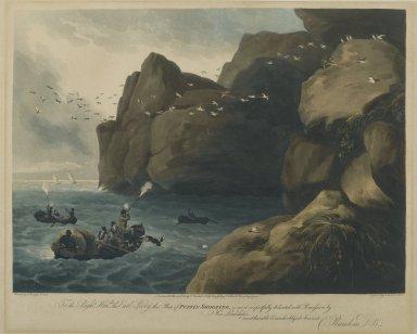 Nichols and Merke. <em>Puffin Shooting</em>, 1806-1810. Engraving Brooklyn Museum, Gift of Harry W. Havemeyer, 54.34.3 (Photo: Brooklyn Museum, 54.34.3_PS2.jpg)