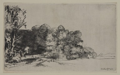 Rembrandt Harmensz. van Rijn (Dutch, 1606-1669). <em>Clump of Trees with a Vista</em>, 1652. Drypoint on laid paper, Plate: 5 x 8 3/8 in. (12.7 x 21.3 cm). Brooklyn Museum, Gift of Mrs. Horace O. Havemeyer, 54.35.11 (Photo: , 54.35.11_PS9.jpg)