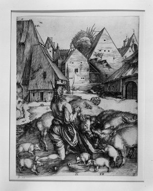 Albrecht Dürer (German, 1471-1528). <em>Prodigal Son</em>, 1496. Engraving on laid paper, 9 13/16 x 7 1/2 in. (24.9 x 19.1 cm). Brooklyn Museum, Gift of Mrs. Horace O. Havemeyer, 54.35.2 (Photo: Brooklyn Museum, 54.35.2_acetate_bw.jpg)