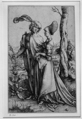Albrecht Dürer (German, 1471-1528). <em>The Promenade</em>, 1510 (possibly). Engraving on laid paper, 7 5/8 x 4 15/16 in. (19.4 x 12.6 cm). Brooklyn Museum, Gift of Mrs. Horace O. Havemeyer, 54.35.3 (Photo: Brooklyn Museum, 54.35.3_acetate_bw.jpg)
