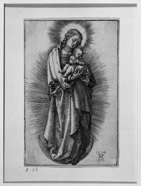 Albrecht Dürer (German, 1471-1528). <em>The Virgin on the Crescent with Short Hair Tied With a Ribbon</em>, 1514. Engraving on fine-laid reinforced paper, 4 3/4 x 30 5/16 in. (12 x 77 cm). Brooklyn Museum, Gift of Mrs. Horace O. Havemeyer, 54.35.4 (Photo: Brooklyn Museum, 54.35.4_acetate_bw.jpg)