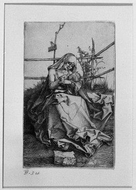 Albrecht Dürer (German, 1471-1528). <em>The Virgin Nursing the Child</em>, 1503. Engraving on fine-laid reinforced paper, 4 1/2 x 2 13/16 in. (11.5 x 7.2 cm). Brooklyn Museum, Gift of Mrs. Horace O. Havemeyer, 54.35.5 (Photo: Brooklyn Museum, 54.35.5_acetate_bw.jpg)