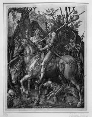 Albrecht Dürer (German, 1471-1528). <em>The Knight, Death and the Devil</em>, 1513. Engraving on laid paper, Image: 9 5/8 x 7 1/2 in. (24.5 x 19 cm). Brooklyn Museum, Gift of Mrs. Horace O. Havemeyer, 54.35.6 (Photo: Brooklyn Museum, 54.35.6_acetate_bw.jpg)