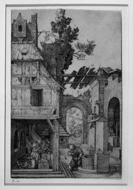 Albrecht Dürer (German, 1471-1528). <em>The Nativity</em>, 1504. Engraving on fine-laid, backed paper, Plate: 7 3/16 x 4 3/4 in. (18.2 x 12 cm). Brooklyn Museum, Gift of Mrs. Horace O. Havemeyer, 54.35.7 (Photo: Brooklyn Museum, 54.35.7_acetate_bw.jpg)
