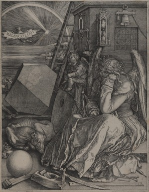 Albrecht Dürer (German, 1471-1528). <em>Melencolia I</em>, 1514. Engraving on laid paper, image: 9 3/8 × 7 1/4 in. (23.8 × 18.4 cm). Brooklyn Museum, Gift of Mrs. Horace O. Havemeyer, 54.35.8 (Photo: , 54.35.8_PS9.jpg)