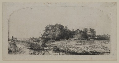 Rembrandt Harmensz. van Rijn (Dutch, 1606-1669). <em>Landscape with a Hay Barn and a Flock of Sheep</em>, 1652. Etching and drypoint on laid paper, Plate: 3 5/16 x 6 7/8 in. (8.4 x 17.5 cm). Brooklyn Museum, Gift of Mrs. Horace O. Havemeyer, 54.35.9 (Photo: , 54.35.9_PS9.jpg)