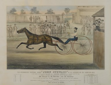 Currier & Ives (American). <em>The Celebrated Trotting Horse, John Stewart ... on Fashion Course</em>, 1868. Lithograph, Image: 16 1/2 x 25 1/2 in. (41.9 x 64.8 cm). Brooklyn Museum, Dick S. Ramsay Fund, 54.36 (Photo: Brooklyn Museum, 54.36_PS1.jpg)