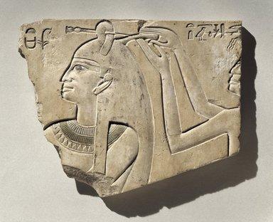 <em>Sunk Relief of Queen Neferu</em>, ca. 2008-1957 B.C.E. Limestone, pigment, 7 1/2 x 9 5/16 x 3/4 in. (19 x 23.6 x 1.9 cm). Brooklyn Museum, Charles Edwin Wilbour Fund, 54.49. Creative Commons-BY (Photo: Brooklyn Museum, 54.49_SL1.jpg)