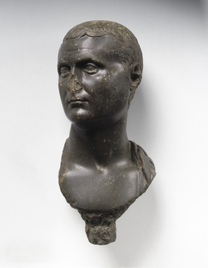 Ptolemaic. <em>Head of a Roman Nobleman, Possibly Marc Antony</em>, ca. 30 B.C.E.– 50 C.E. Graywacke, 9 x 4 1/4 x 5 in. (22.9 x 10.8 x 12.7 cm). Brooklyn Museum, Charles Edwin Wilbour Fund, 54.51. Creative Commons-BY (Photo: Brooklyn Museum, 54.51_SL1.jpg)