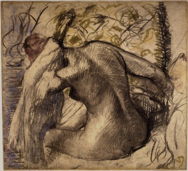 Edgar Degas (French, 1834-1917). <em>Seated Nude Woman Drying Her Hair (Femme nue assise s'essuyant les cheveux)</em>, ca. 1902. Pastel on translucent paper mounted on paperboard, 25 1/4 x 27 1/2 in. (64.1 x 69.9 cm). Brooklyn Museum, Gift of Mrs. Leo Smith, 54.54 (Photo: Brooklyn Museum, 54.54_SL1.jpg)