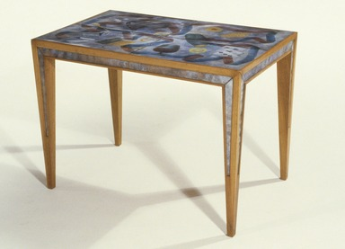 Paolo De Poli (enamel) (Italian, 1905-1996). <em>Table</em>, Designed circa 1942, made circa 1949. Enamel on copper and wood (walnut ?), 17 3/4 × 24 1/4 × 15 1/2 in. (45.1 × 61.6 × 39.4 cm). Brooklyn Museum, Gift of the Italian Government, 54.64.124. Creative Commons-BY (Photo: Brooklyn Museum, 54.64.124_SL1.jpg)