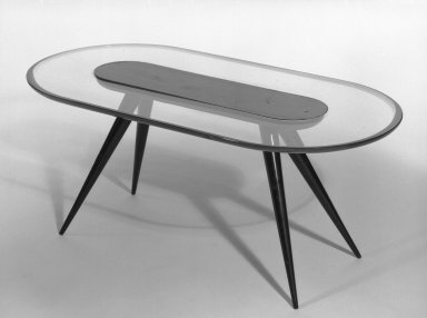 Fontana Arte Fontana, Luigi. <em>Coffee Table</em>, late 1940s. Glass and rosewood(?), 15 x 38 1/2 x 19 3/4 in. (38.1 x 97.8 x 50.2 cm). Brooklyn Museum, Gift of the Italian Government, 54.64.230. Creative Commons-BY (Photo: Brooklyn Museum, 54.64.230_bw.jpg)