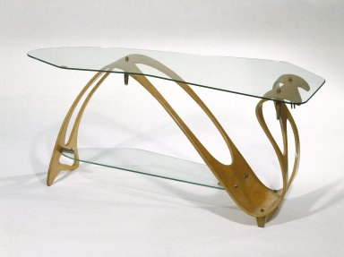Carlo Mollino (Italian, 1905-1973). <em>Low Table</em>, ca. 1949. Maple plywood and glass, 20 1/2 x 47 1/2 x 21 1/4 in. (52.1 x 120.7 x 54 cm). Brooklyn Museum, Gift of the Italian Government, 54.64.231a-c. Creative Commons-BY (Photo: Brooklyn Museum, 54.64.231a-c_SL1.jpg)