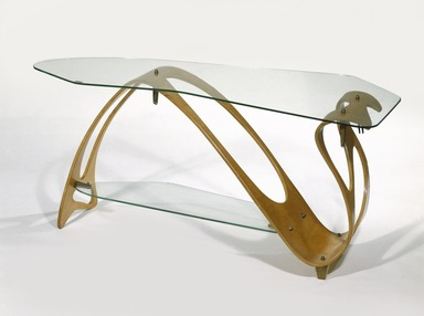 Carlo Mollino (Italian, 1905-1973). <em>Tea Table</em>, ca. 1949. Maple plywood, glass, brass, 20 1/2 x 47 1/2 x 21 1/4 in. (52.1 x 120.7 x 54 cm). Brooklyn Museum, Gift of the Italian Government, 54.64.231a-c. Creative Commons-BY (Photo: Brooklyn Museum, 54.64.231a-c_edited_SL1.jpg)