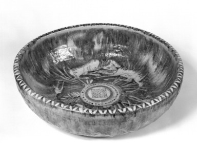 Guido Gambone. <em>Large Bowl</em>, 20th century. Ceramic, 5 1/4 x 17 in. (13.3 x 43.2 cm). Brooklyn Museum, Gift of the Italian Government, 54.64.24. Creative Commons-BY (Photo: Brooklyn Museum, 54.64.24_bw.jpg)