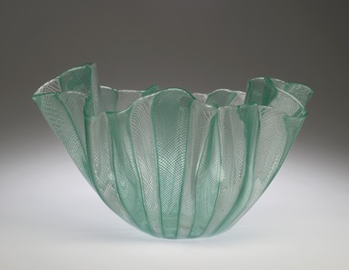 Fulvio Bianconi (Italian, 1915-1996). <em>Fazzoletto (Handkerchief) Bowl, model 4215</em>, ca. 1949. Glass, 5 3/4 x 9 3/4 in. (14.6 x 24.8 cm). Brooklyn Museum, Gift of the Italian Government, 54.64.7. Creative Commons-BY (Photo: Brooklyn Museum, 54.64.7_PS2.jpg)