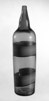 Paolo Venini (Italian, 1895-1959). <em>Bottle</em>, ca. 1949. Glass, 15 1/4 x 4 1/4 in. (38.7 x 10.8 cm). Brooklyn Museum, Gift of the Italian Government, 54.64.95. Creative Commons-BY (Photo: Brooklyn Museum, 54.64.95_bw.jpg)
