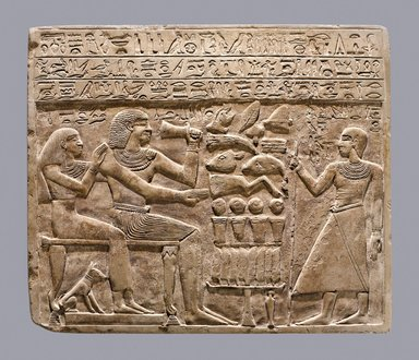 <em>Funerary Stela of Intef and Senettekh</em>, ca. 2065-2000 B.C.E. Limestone, 11 3/4 x 13 15/16 x 15/16 in. (29.8 x 35.4 x 2.4 cm). Brooklyn Museum, Charles Edwin Wilbour Fund, 54.66. Creative Commons-BY (Photo: Brooklyn Museum (Gavin Ashworth,er), 54.66_Gavin_Ashworth_photograph.jpg)
