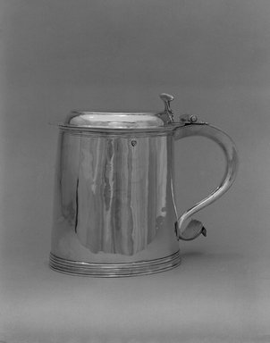 Cornelius Vanderburgh (1653-1699). <em>Tankard</em>, ca. 1690. Silver, 7 9/16 x 9 x 5 7/8 in. (19.2 x 22.9 x 14.9 cm). Brooklyn Museum, Gift of Stephen G.C. Ensko, 54.72. Creative Commons-BY (Photo: Brooklyn Museum, 54.72_bw.jpg)