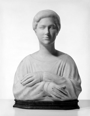 Elie Nadelman (American, 1882-1946). <em>Portrait of Jane Wallach</em>, ca. 1917-1918. White marble on green stone base, 26 1/8 x 17 7/8 x 14 1/8 in. (66.4 x 45.4 x 35.9 cm). Brooklyn Museum, Gift of Edna Barger, 54.74. Creative Commons-BY (Photo: Brooklyn Museum, 54.74_bw.jpg)
