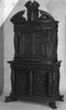 <em>Renaissance Burgundian Cabinet</em>, 16th century. Walnut, 103 x 58 x 25 1/2 in. (261.6 x 147.3 x 64.8 cm). Brooklyn Museum, Gift of Mrs. J. Fuller Feder, 54.75. Creative Commons-BY (Photo: Brooklyn Museum, 54.75_bw.jpg)