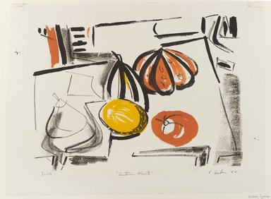 Gerson Leiber (American, 1921-2018). <em>Autumn Fruits</em>, 1954. Lithograph in color on wove paper, Sheet: 13 1/8 x 17 3/4 in. (33.3 x 45.1 cm). Brooklyn Museum, Dick S. Ramsay Fund, 54.88. © artist or artist's estate (Photo: Brooklyn Museum, 54.88_PS4.jpg)