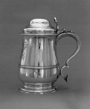 R. Gurney & T. Cooke. <em>Tankard</em>, 1758-1759. Silver Brooklyn Museum, Gift of Mr. and Mrs. Louis Holland in memory of Mrs. Holland's father, Sol Fischer, 54.97. Creative Commons-BY (Photo: Brooklyn Museum, 54.97_acetate_bw.jpg)