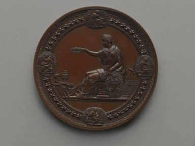 Henry Mitchell (American, active 1860-1880). <em>United States Centennial Commission Medal</em>, 1876. Bronze, 3 x 3 x 3/8 in. (7.6 x 7.6 x 1 cm). Brooklyn Museum, Gift of North Star Woolen Mills, 54.98.3. Creative Commons-BY (Photo: Brooklyn Museum, 54.98.3_side1_PS2.jpg)