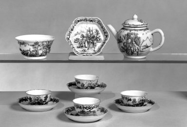 <em>Part of Teaset</em>, ca.1750. Porcelain, Cups: 1 3/4 x 2 7/8 in. (4.4 x 7.3 cm). Brooklyn Museum, Museum Collection Fund and Dick S. Ramsay Fund, 55.103.4c. Creative Commons-BY (Photo: Brooklyn Museum, 55.103.4a-p_bw.jpg)