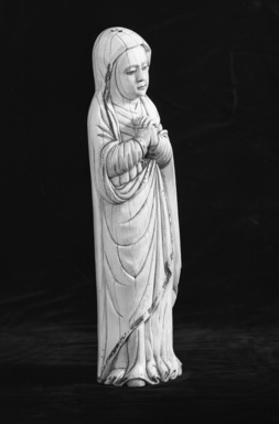 Spanish. <em>Madonna Mater Dolorosa</em>, 17th century. Ivory, 18 x 5 x 3 3/4 in. (45.7 x 12.7 x 9.5 cm). Brooklyn Museum, Gift of Mr. and Mrs. Walter Lowry, 55.105. Creative Commons-BY (Photo: Brooklyn Museum, 55.105_acetate_bw.jpg)
