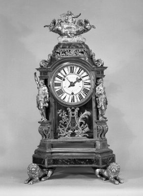 <em>Table Clock in Case</em>, ca.1680. Glass, brass, tortoiseshell Brooklyn Museum, Gift of James Hazen Hyde, 55.11.1. Creative Commons-BY (Photo: Brooklyn Museum, 55.11.1_acetate_bw.jpg)