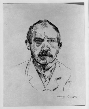 Lovis Corinth (German, 1858-1925). <em>Self-Portrait (Selbstbildnis)</em>, 1916. Lithograph on wove paper, Image: 6 1/2 x 5 1/2 in. (16.5 x 14 cm). Brooklyn Museum, Gift of Benjamin Weiss, 55.113.12 (Photo: Brooklyn Museum, 55.113.12_acetate_bw.jpg)