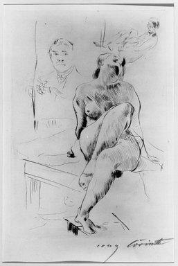 Lovis Corinth (German, 1858-1925). <em>Female Nude Crouching on a Table (Auf einem Tische kauernder weiblicher Akt)</em>, 1913. Drypoint on laid paper, Image (Plate): 10 13/16 x 7 7/16 in. (27.5 x 18.9 cm). Brooklyn Museum, Gift of Benjamin Weiss, 55.113.13 (Photo: Brooklyn Museum, 55.113.13_acetate_bw.jpg)