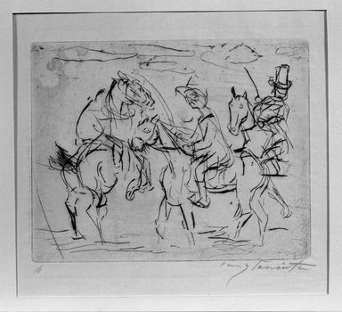 Lovis Corinth (German, 1858-1925). <em>Sunday Riders (Sonntagsreiter)</em>, 1920. Etching and drypoint on thin Japan paper, Image (Plate): 20 3/4 x 9 13/16 in. (52.7 x 24.9 cm). Brooklyn Museum, Gift of Benjamin Weiss, 55.113.1 (Photo: Brooklyn Museum, 55.113.1_acetate_bw.jpg)