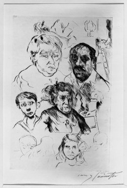 Lovis Corinth (German, 1858-1925). <em>Various Heads and Self-Portrait (Verschiedene Köpfe und Selbstbildnis)</em>, 1915. Drypoint on van Gelder laid paper, Image (Plate): 11 7/8 x 7 11/16 in. (30.2 x 19.5 cm). Brooklyn Museum, Gift of Benjamin Weiss, 55.113.24 (Photo: Brooklyn Museum, 55.113.24_acetate_bw.jpg)
