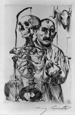 Lovis Corinth (German, 1858-1925). <em>The Artist and Death II (Der Künstler und der Tod II)</em>, 1916. Drypoint on wove van Gelder paper, Image (Plate): 7 1/16 x 4 15/16 in. (17.9 x 12.5 cm). Brooklyn Museum, Gift of Benjamin Weiss, 55.113.26 (Photo: Brooklyn Museum, 55.113.26_acetate_bw.jpg)