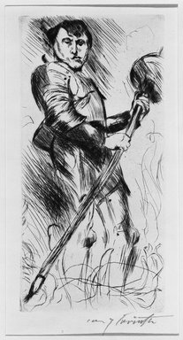 Lovis Corinth (German, 1858-1925). <em>Saint George (Der Heilige Georg)</em>, 1916. Drypoint on imitation laid Holland paper, Image (Plate): 10 x 4 15/16 in. (25.4 x 12.5 cm). Brooklyn Museum, Gift of Benjamin Weiss, 55.113.29 (Photo: Brooklyn Museum, 55.113.29_acetate_bw.jpg)