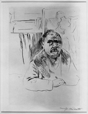Lovis Corinth (German, 1858-1925). <em>Self-Portrait with Fur Coat (Selbstbildnis im Pelz)</em>, 1913. Drypoint on van Gilder wove paper, Image (Plate): 8 5/8 x 6 3/8 in. (21.9 x 16.2 cm). Brooklyn Museum, Gift of Benjamin Weiss, 55.113.34 (Photo: Brooklyn Museum, 55.113.34_acetate_bw.jpg)