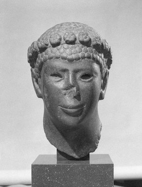 <em>Head of a Man with a Rosette Diadem</em>, 30 B.C.E.-14 C.E. Basalt, Height: 15 7/16 in. (39.2 cm). Brooklyn Museum, Charles Edwin Wilbour Fund, 55.120. Creative Commons-BY (Photo: Brooklyn Museum, 55.120_bw_SL1.jpg)