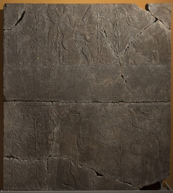 Assyrian. <em>Kneeling and Standing Apkallu-figures Fertilize the Sacred Tree</em>, ca. 883-859 B.C.E. Gypsum stone, 89 11/16 x 79 15/16 in. (227.8 x 203 cm). Brooklyn Museum, Purchased with funds given by Hagop Kevorkian and the Kevorkian Foundation, 55.146. Creative Commons-BY (Photo: Brooklyn Museum, 55.146_at_PS11.jpg)