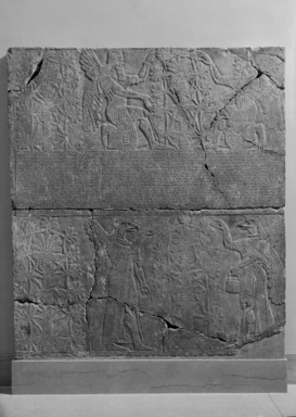Assyrian. <em>Kneeling and Standing Apkallu-figures Fertilize the Sacred Tree</em>, ca. 883-859 B.C.E. Alabaster, 89 11/16 x 79 15/16 in. (227.8 x 203 cm). Brooklyn Museum, Purchased with funds given by Hagop Kevorkian and the Kevorkian Foundation, 55.146. Creative Commons-BY (Photo: , 55.146_bw_SL1.jpg)