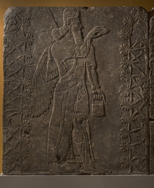Assyrian. <em>Apkallu-figure</em>, ca. 883-859 B.C.E. Gypsum stone, pigment, 93 1/16 x 80 13/16 in. (236.3 x 205.3 cm). Brooklyn Museum, Purchased with funds given by Hagop Kevorkian and the Kevorkian Foundation, 55.147. Creative Commons-BY (Photo: Brooklyn Museum, 55.147_PS11.jpg)