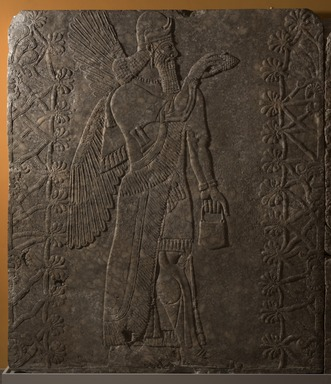 Assyrian. <em>Apkallu-figure</em>, ca. 883-859 B.C.E. Gypsum stone, pigment, 93 1/16 x 80 13/16 in. (236.3 x 205.3 cm). Brooklyn Museum, Purchased with funds given by Hagop Kevorkian and the Kevorkian Foundation, 55.147. Creative Commons-BY (Photo: Brooklyn Museum, 55.147_at_PS11.jpg)