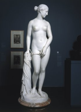 Hiram S. Powers (American, 1805-1873). <em>The Greek Slave</em>, 1866. Marble, Statue: 65 1/2 x 19 1/4 x 18 3/4 in. (166.4 x 48.9 x 47.6 cm). Brooklyn Museum, Gift of Charles F. Bound, 55.14. Creative Commons-BY (Photo: Brooklyn Museum, 55.14_SL1.jpg)